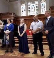 (l-r) Laura Scandizzo, Rebecca Moret, Sitiveni Talei and Francis Greep (accompanist) (photo, courtesy Barbara Beasley)